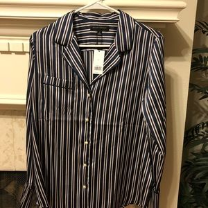 Banana Republic Striped Pearl Button Down Shirt